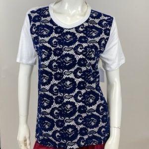 Tory Burch - Velvet Appliqued Print Tee Shirt